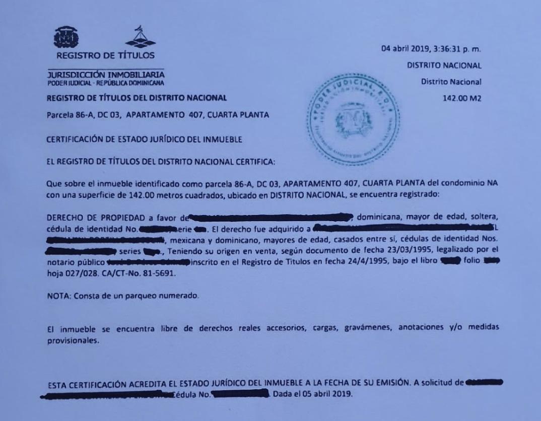 Certificación de estado jurídico (Cargas y Gravamen)